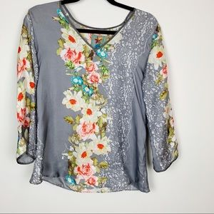 Johnny Was Gray Floral Silk Tunic Top
